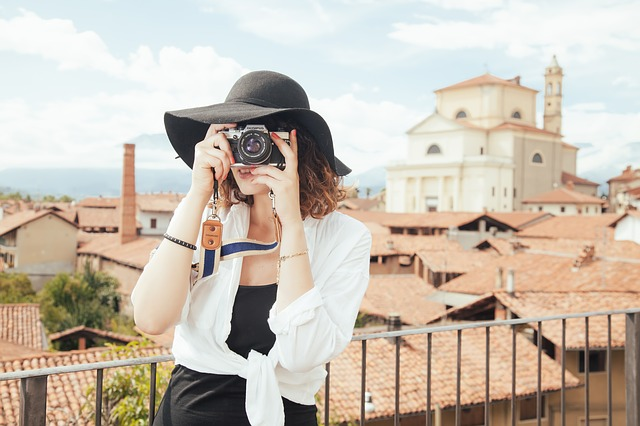travel blogger taking a photo